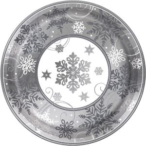 Metallic Sparkling Snowflake Dinner Plates 8ct