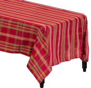 Metallic Red Plaid Fabric Tablecloth