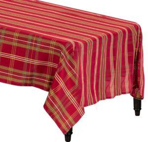 Metallic Red Plaid Fabric Tablecloth