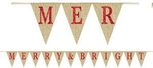 Glitter Merry & Bright Burlap Pennant Banner