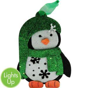 Light-Up Green Glitter Penguin Ornament