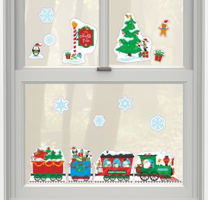 Christmas Train Cling Decals 15ct