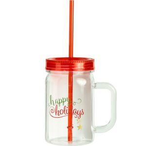 Happy Holidays Mason Jar Tumbler