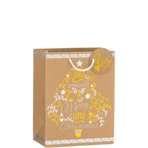 Metallic Merry Little Christmas Kraft Christmas Gift Bag