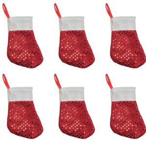 Sequin Red Mini Christmas Stockings 6ct