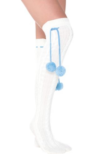 Icy Christmas Pom-Pom Over-the-Knee Socks