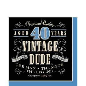 Vintage Dude 40th Birthday Lunch Napkins 16ct