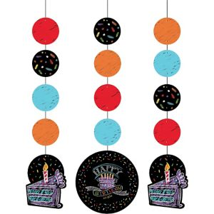 Chalkboard Birthday String Decorations 3ct