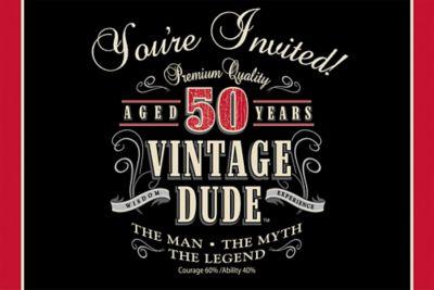 Vintage Dude 50th Birthday Invitations 8ct