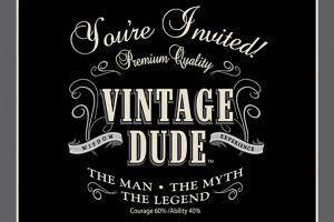 Vintage Dude Over the Hill Invitations 8ct