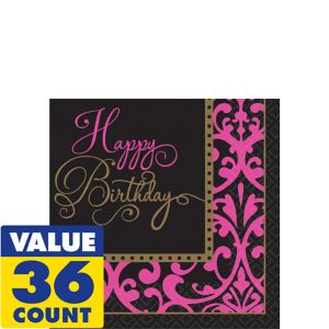 Damask Birthday Beverage Napkins 36ct - Fabulous Celebration