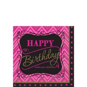 Pink Chevron Birthday Beverage Napkins 16ct - Born to Be Fabulous