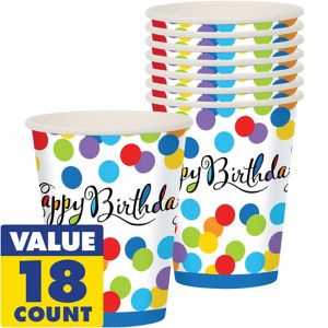 Bright Dot Birthday Cups 18ct