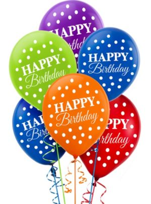 Bright Dot Birthday Balloons 15ct