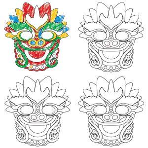 Chinese Dragon Coloring Masks 4ct