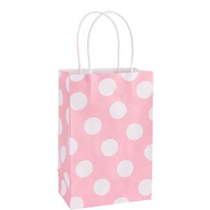 Medium Pink Polka Dot Kraft Gift Bag