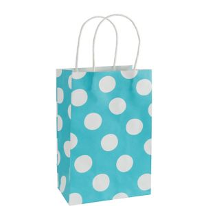 Medium Caribbean Blue Polka Dot Kraft Gift Bag