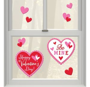 Happy Valentine's Day Heart Gel Cling Decals 8ct