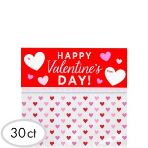 Resealable Valentine's Day Treat Bags 30ct