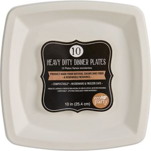 Eco-Friendly White Sugar Cane Square Dinner Plates 10ct
