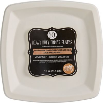 Eco-Friendly White Sugar Cane Square Dinner Plates 10ct