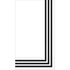 Black Classic Stripe Premium Guest Towels 16ct