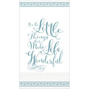 Teal Wonderful Life Premium Guest Towels 16ct