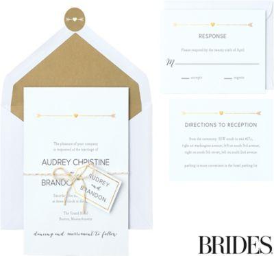 Metallic gold rustic arrow printable wedding invitations for Gold foil wedding invitations canada