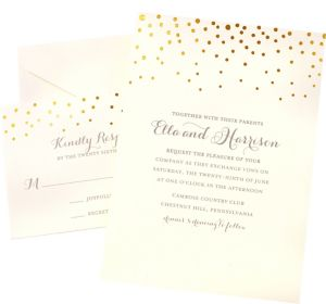 Metallic Gold Dot Printable Wedding Invitations Kit 50ct