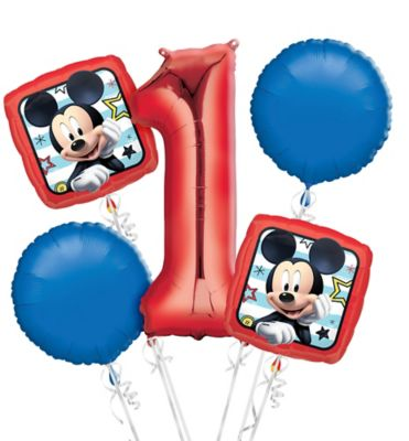 Mickey Mouse 1st Birthday Balloon Bouquet 5pc Party City