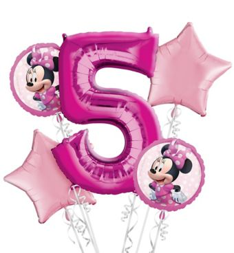 Minnie Mouse 5th Birthday Balloon Bouquet 5pc