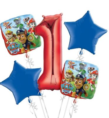 PAW Patrol 1st Birthday Balloon Bouquet 5pc Party City