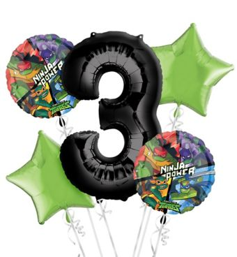 Teenage Mutant Ninja Turtles 3rd Birthday Balloon Bouquet 5pc