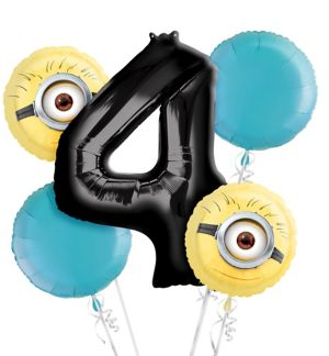 Despicable Me 4th Birthday Balloon Bouquet 5pc