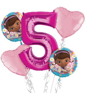 Doc McStuffins 5th Birthday Balloon Bouquet 5pc