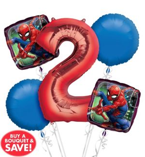 Spider-Man 2nd Birthday Balloon Bouquet 5pc
