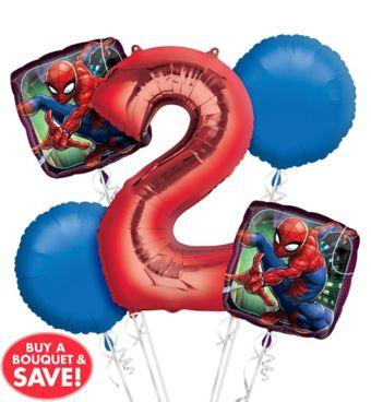 Spider-Man 2nd Birthday Balloon Bouquet 5pc