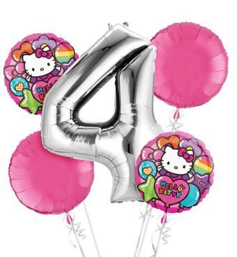 Rainbow Hello Kitty 4th Birthday Balloon Bouquet 5pc