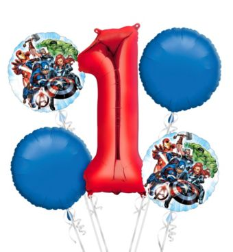 Avengers 1st Birthday Balloon Bouquet 5pc