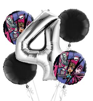 Monster High 4th Birthday Balloon Bouquet 5pc