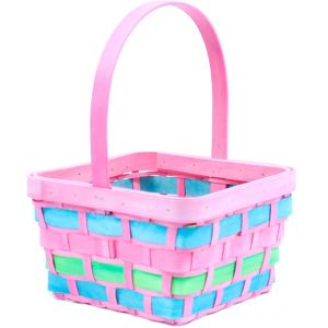 Medium Pink Wood Easter Basket