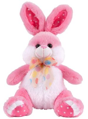 Polka Dot Bow Pink Easter Bunny Plush