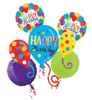 Happy Birthday Balloon Bouquet 5pc - Rainbow Balloon Bash