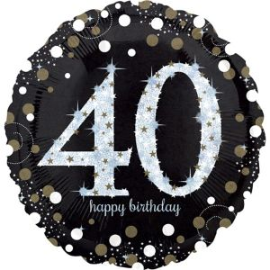 40th Birthday Balloon - Sparkling Celebration