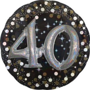 40th Birthday Balloon - 3D Sparkling Celebration