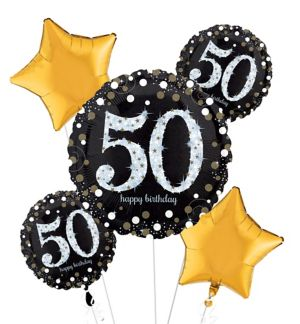 50th Birthday Balloon Bouquet 5pc - Sparkling Celebration