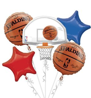 NBA Balloon Bouquet 5pc - Spalding