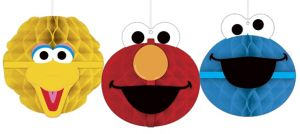 Sesame Street Honeycomb Decorations 3ct