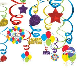 Rainbow Balloon Bash Birthday Swirl Decorations 50ct