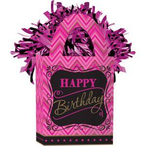 Pink Chevron Birthday Balloon Weight - Born to Be Fabulous